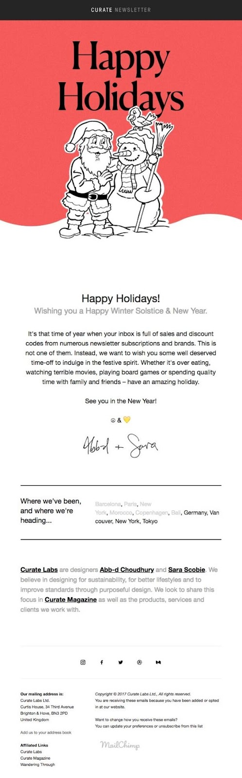 Curate Labs not only wishes their readers a happy holidays, but a happy New Year & Winter Solstice too