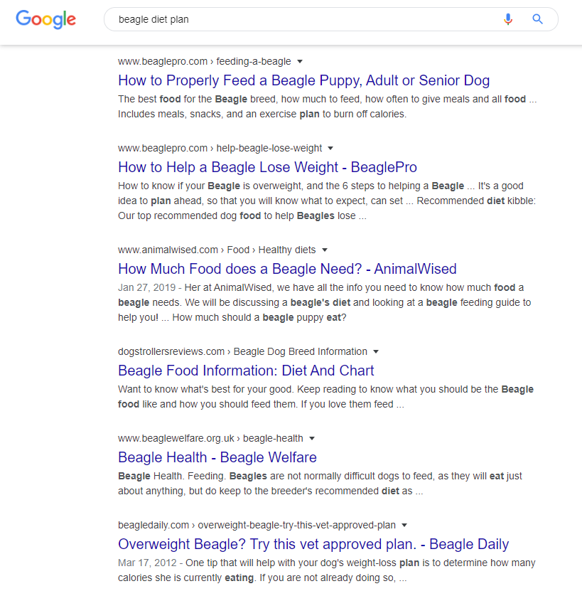 "Organic search results for ""beagle diet plan""."