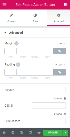 advanced settings for popup action button
