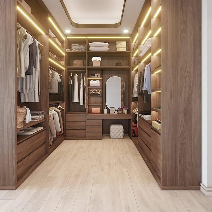 Thiết kế phòng thay đồ sử dụng vật liệu đồ gỗ