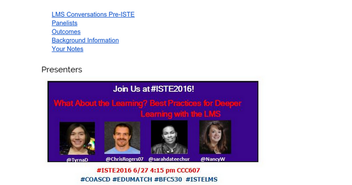 Thumbnail for ISTE 2016 Best Practice for LMS Notes
