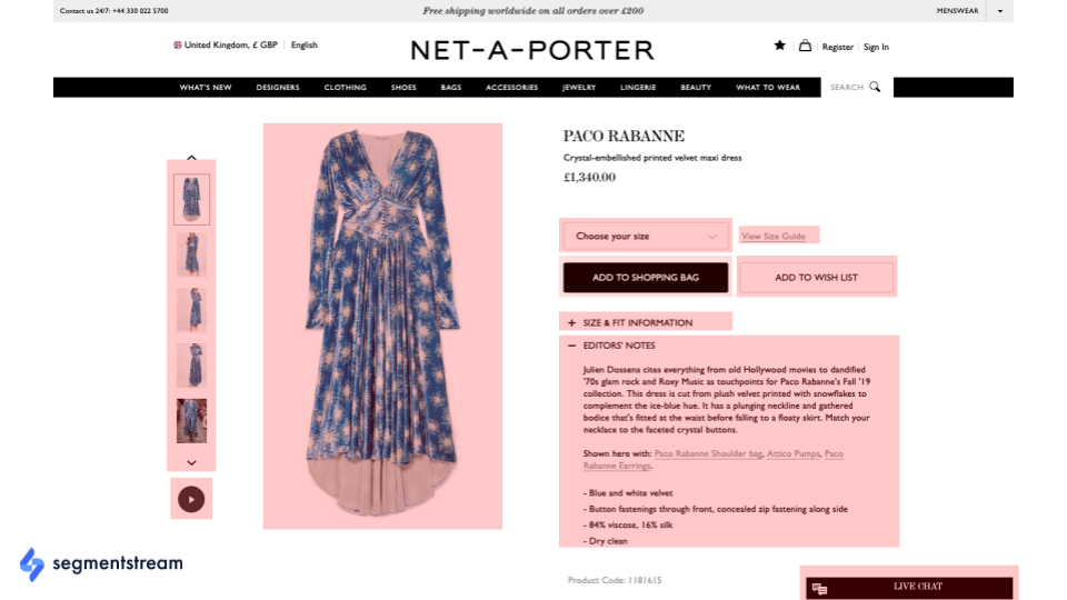 example of fashion ecommerce product page.