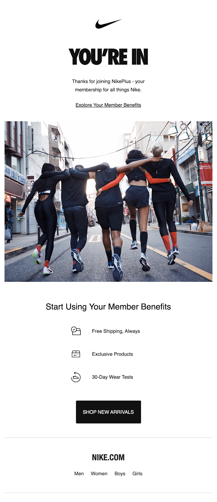 Nike email using clear points in bulleted-copy and single CTA with what action to take