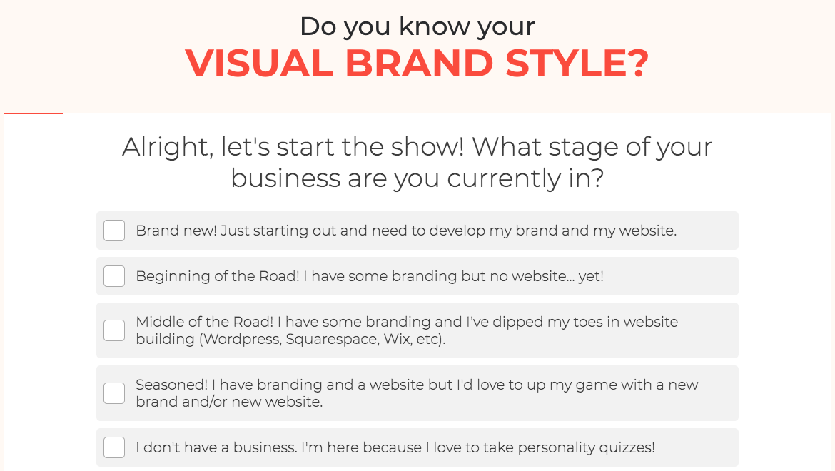 Do you know your visual brand style quiz question about what stage of business you're in