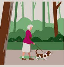 Elderly Walking Dog Cartoon Vector Images (over 190)