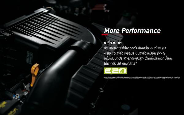 ขุมพลัง K12B 1.2 ลิตร ประหยัดน้ำมันมากขึ้น และรองรับเชื้อเพลิง E20