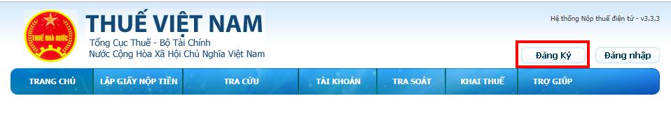 Đăng ký tài khoản trên trang của Tổng Cục Thuế
