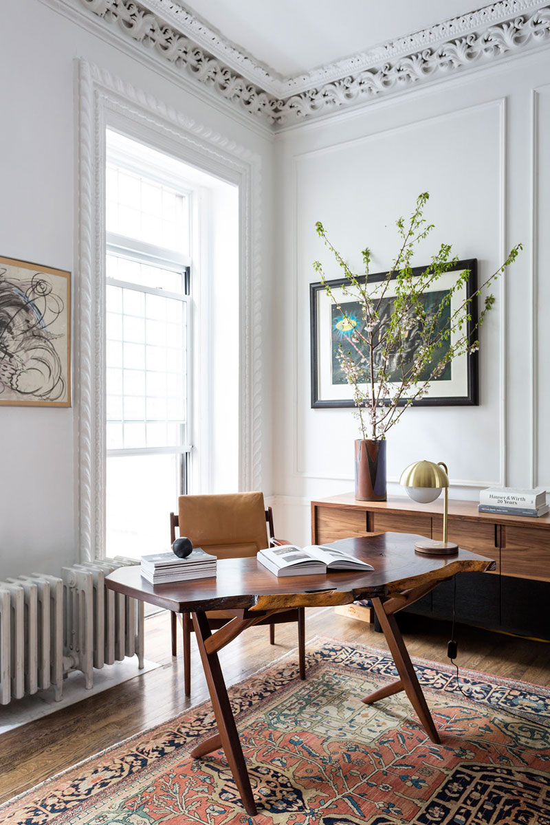home office dining room traditional details moulding millwork live edge wood table leather chair art