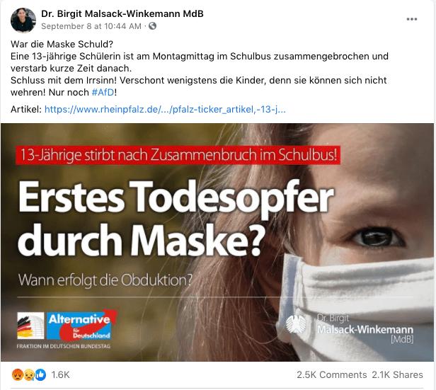 Foto del post de Facebook de la diputada de AfD Birgit Malsack-Winkemann sobre la muerte de una niña de 13 años en Alemania.