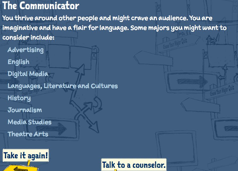 career quiz results with recommendations of majors for a person who is a communicator