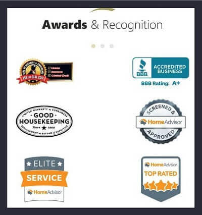 Industry-Specific Awards & Recognition on Contracting Website Homepage