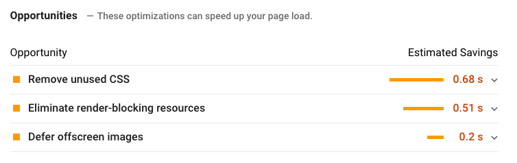 opportunity suggestions on Google PageSpeed Insights