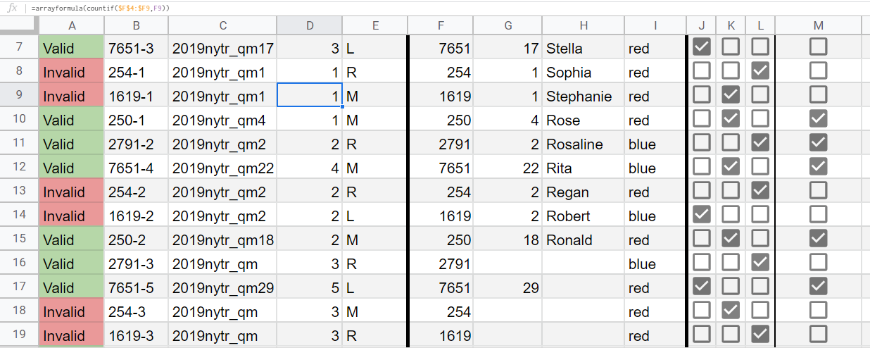 Photo shows how it can be hard to see what columns represent, if we don't freeze the rows