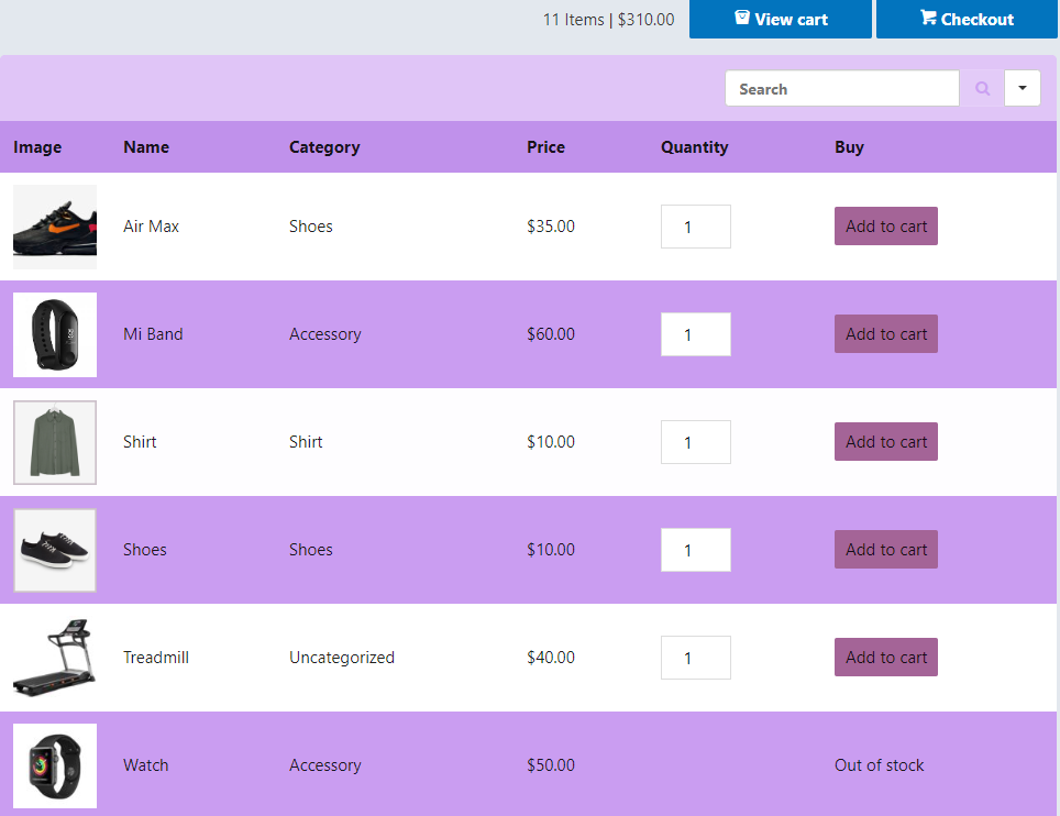 WooCommerce product table example