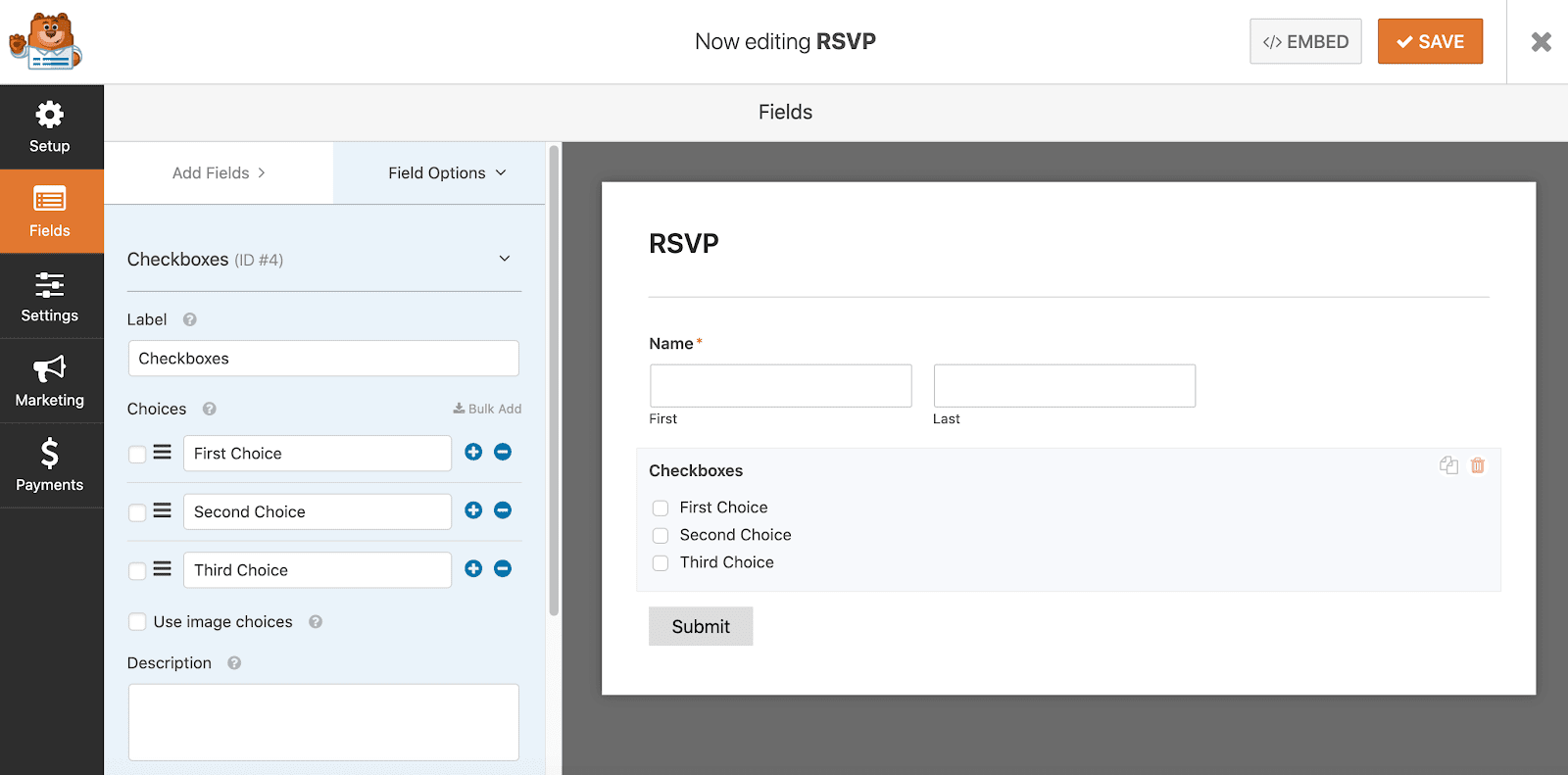 Set up checkboxes in form using WPForms in WordPress
