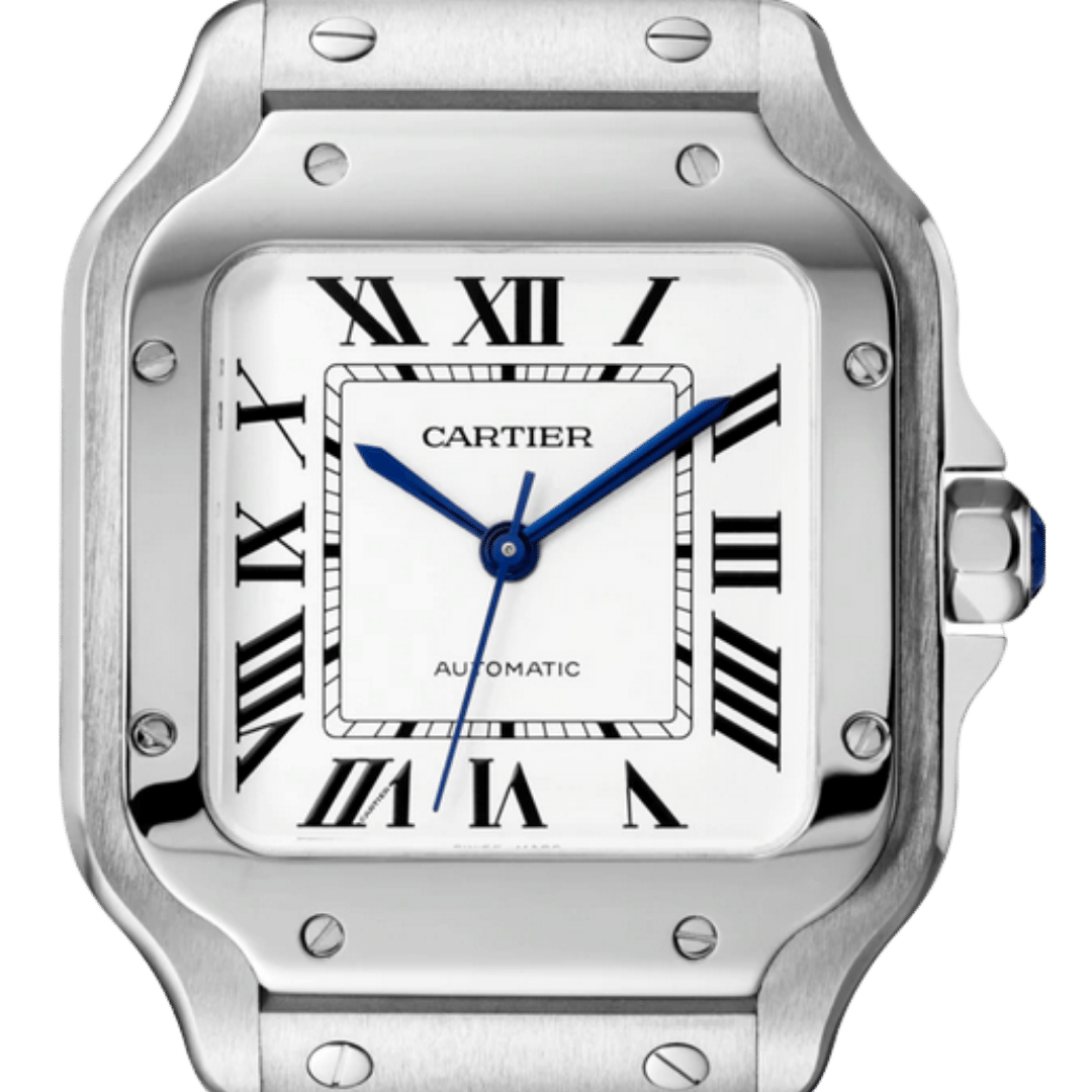 Cartier watch featuring Roman numerals watch indices