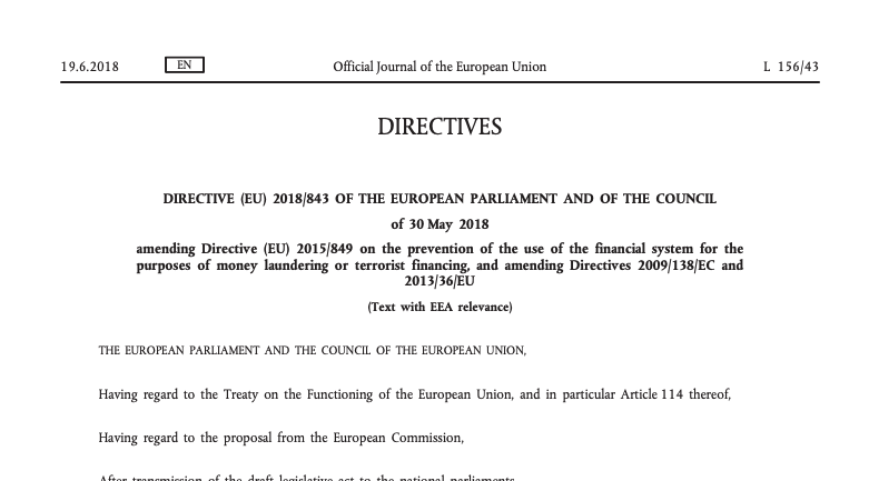 The 5th Anti-Money Laundering Directive