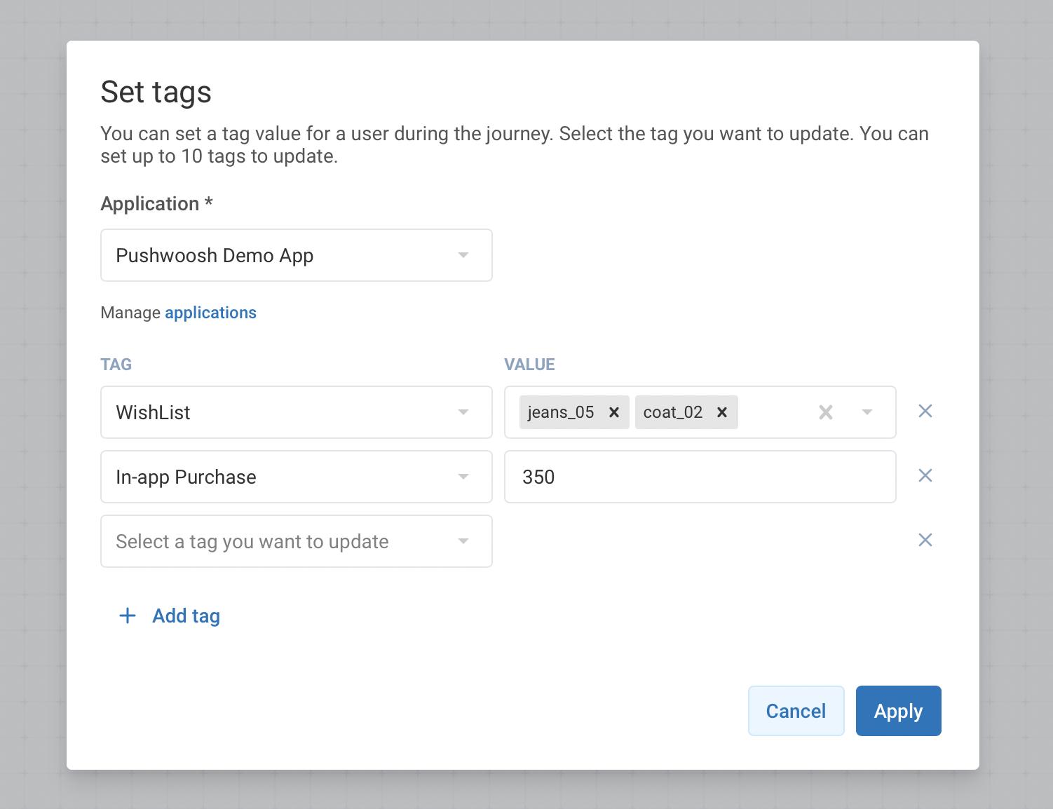 Set Dynamic Tags in Pushwoosh Customer Journey Builder - Pushwoosh Product Update