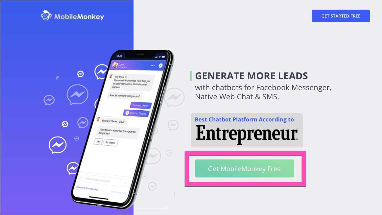 mobilemonkey free signup page