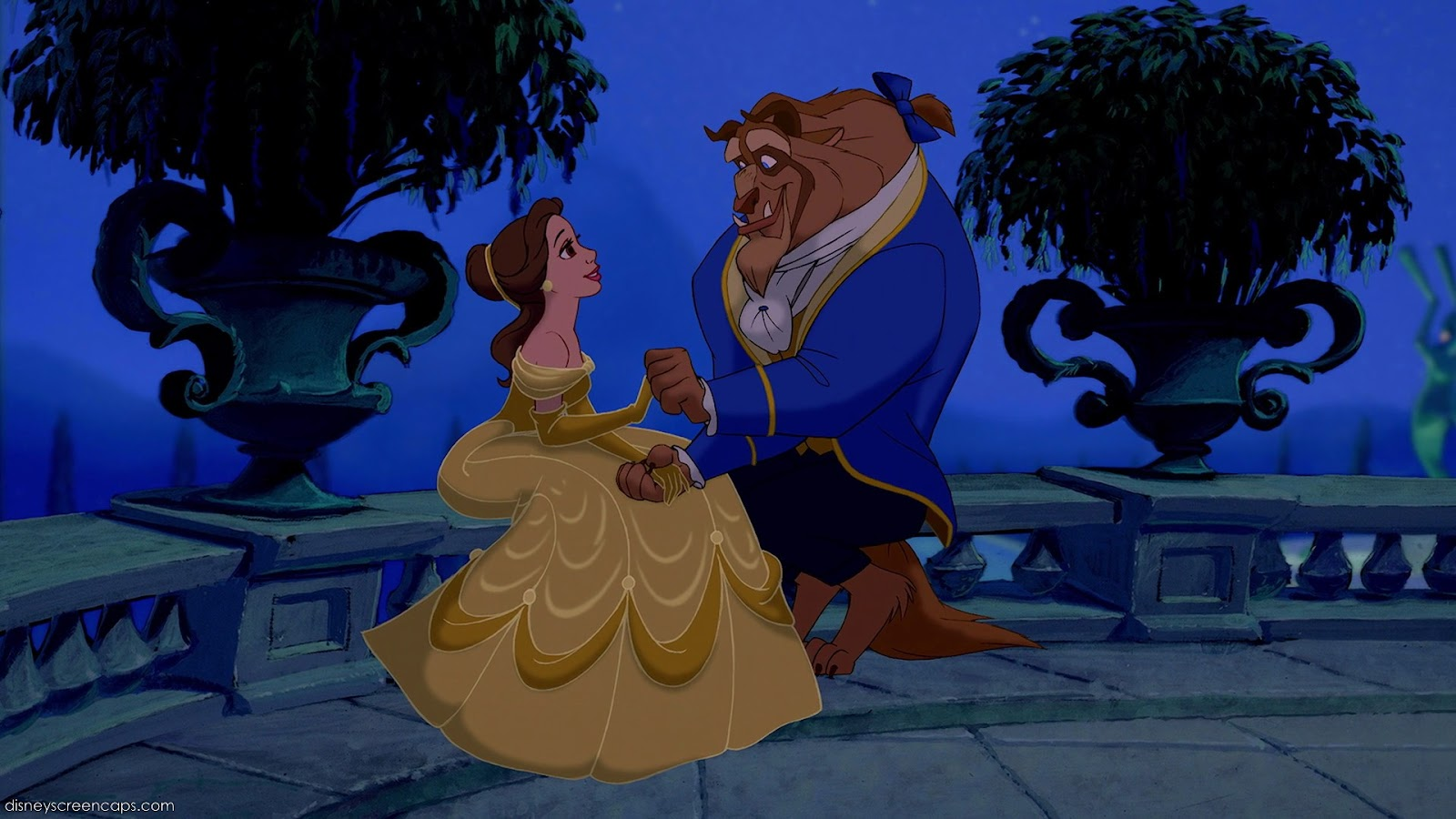 Beauty and the Beast (Disney, 1991) is often thought as a case of Stockholm syndrome. In this scene, Belle and Beast sits down one evening on the porch.