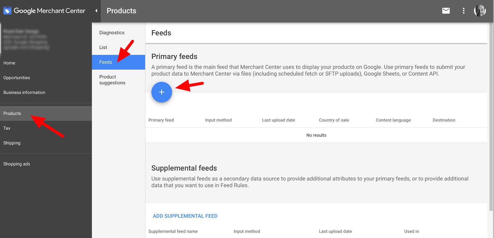 Google merchant center feeds