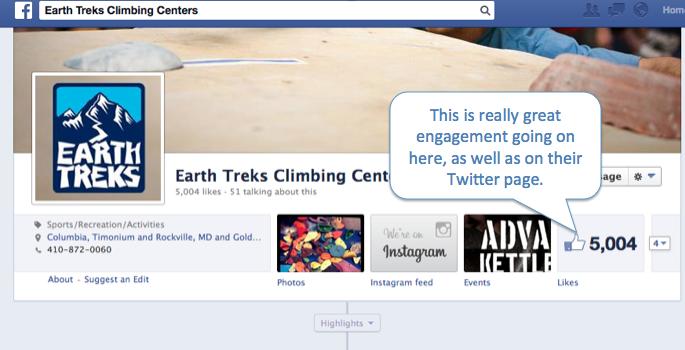 screenshot of earth trek's facebook