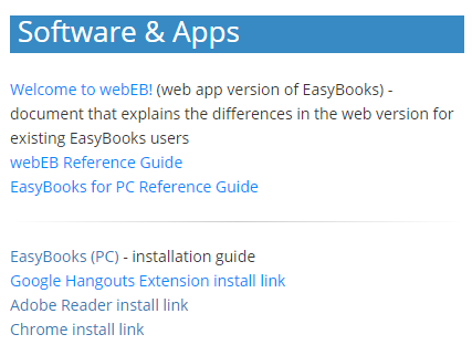 Image of Software and Apps list of links