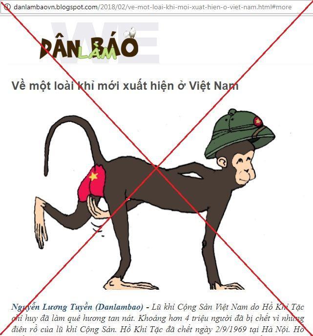 Hình ảnh bài viết xúc phạm Lãnh tụ Hồ Chí Minh được đăng tải trên danlambao, ảnh chụp màn hình