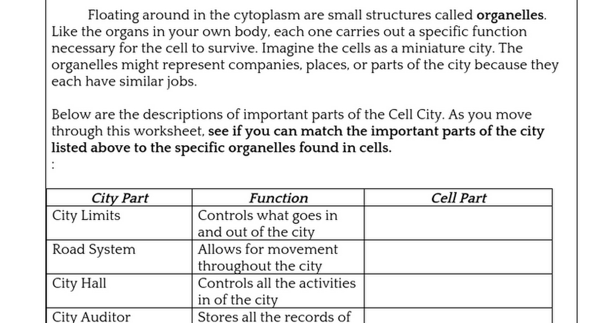 Cellcityactivitydoc Google Docs – Cell City Worksheet