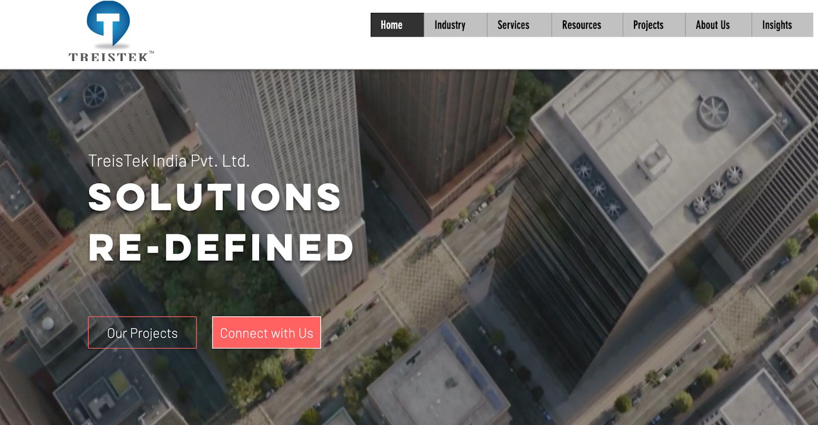 TreisTek India website – bim outsourcing company in India