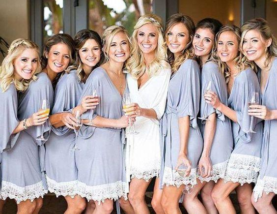 Purple Bridesmaids Getting Ready Robes. Destination Wedding Attire.