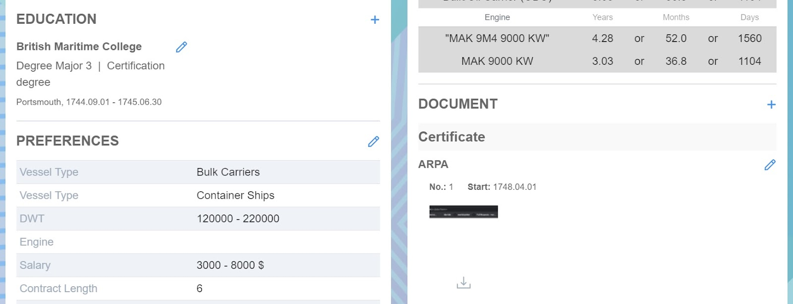 Screenshot of Martide website showing the seafarer's education and documents