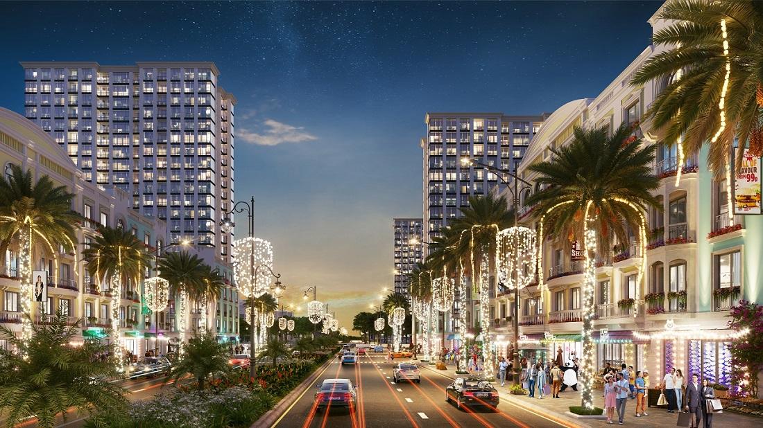 Sun Grand Boulevard nổi bật với trục đại lộ trung tâm lớn nhất Việt Nam.