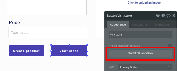 Triggering a no-code workflow to visit a Shopify store page