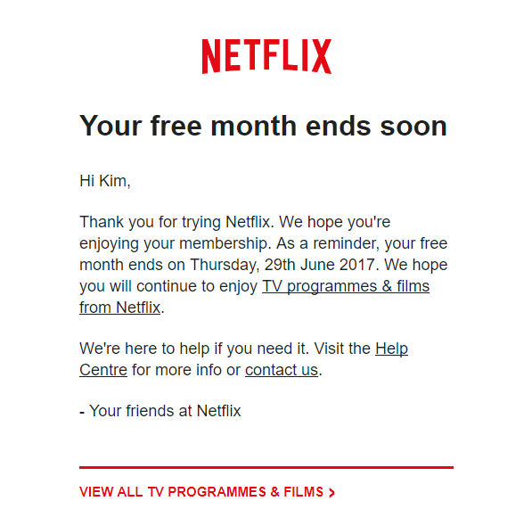 Your free month ends soon Netflix trial reminder email