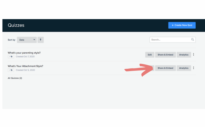 where to find Share & Embed button on quiz
