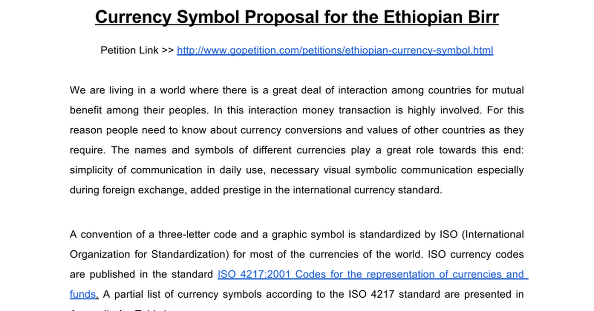 Ethiopian Currency Symbol Google Docs