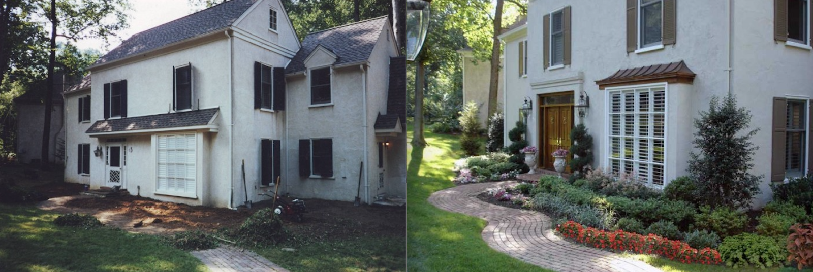 Side-by-side landscaping transformation