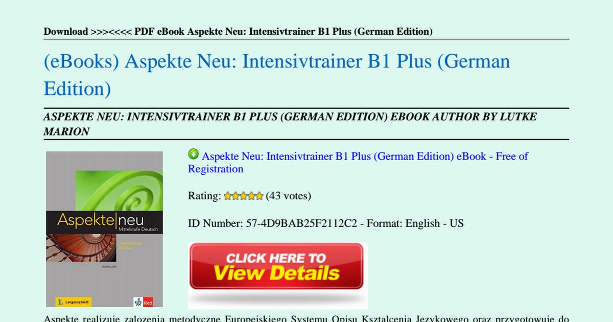 Aspekte Neu Intensivtrainer B1 Plus German Editionpdf Google Drive