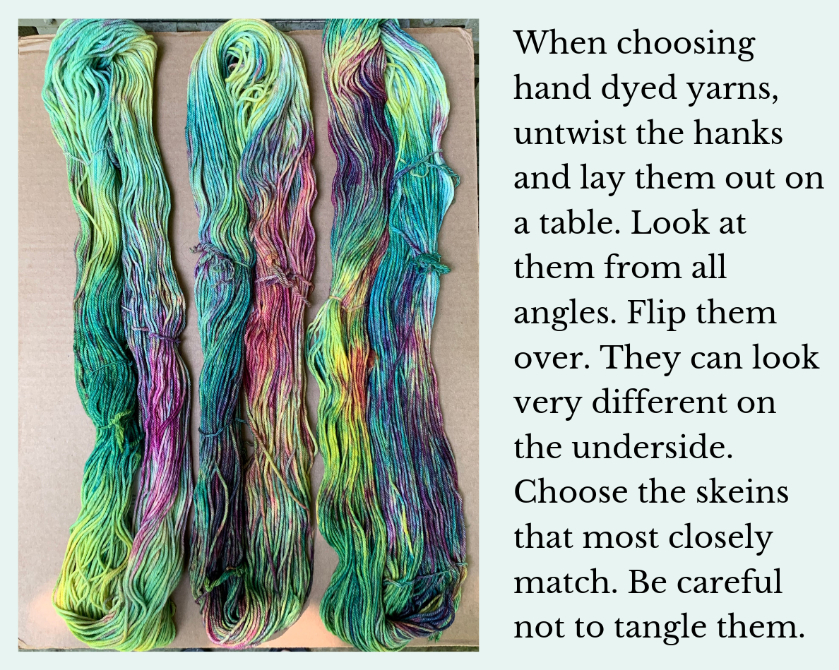 Choosing hand dyed yarns