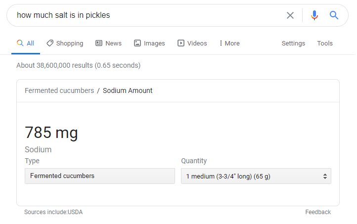 sodium amount for pickles