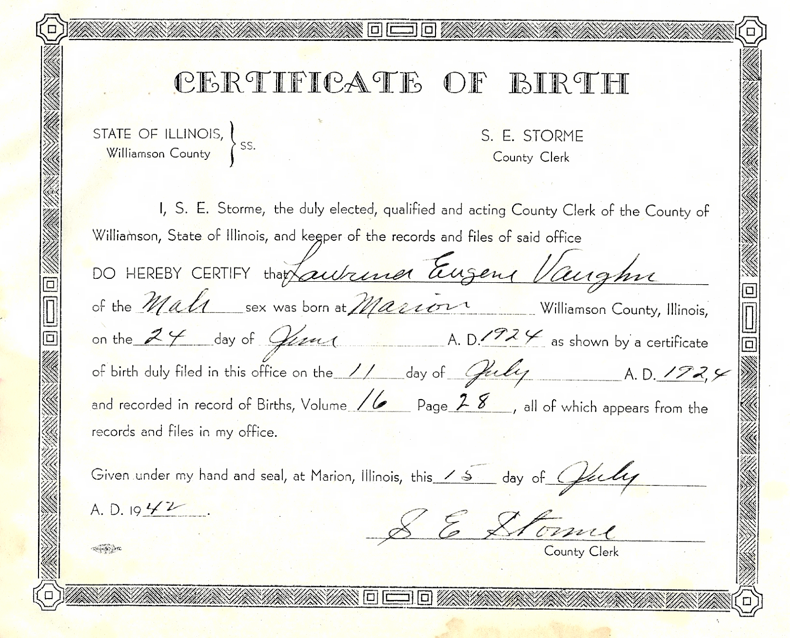 Lawrence Eugene Vaughn Birth Certificate.png