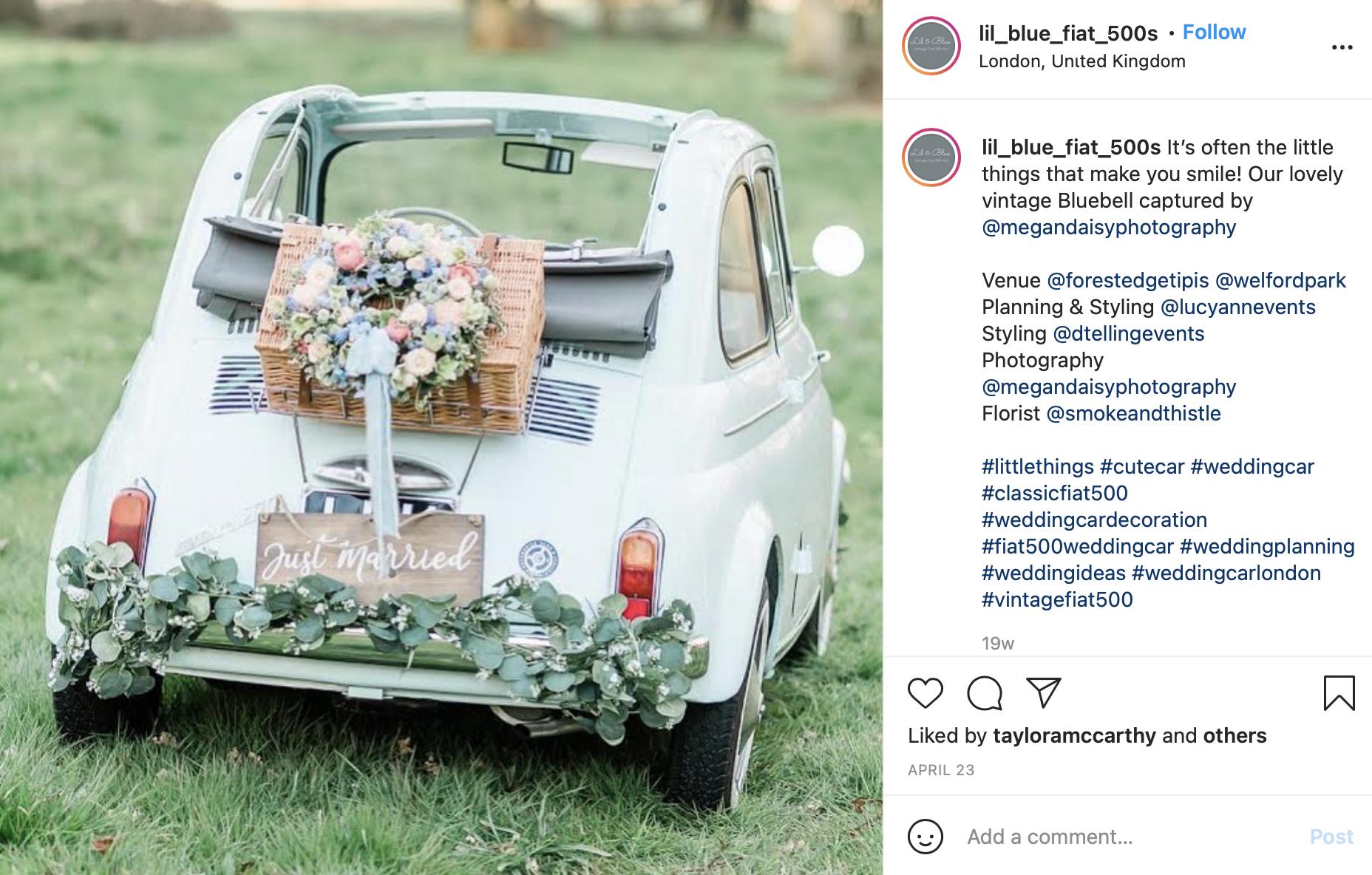 floral wreath wedding car decor