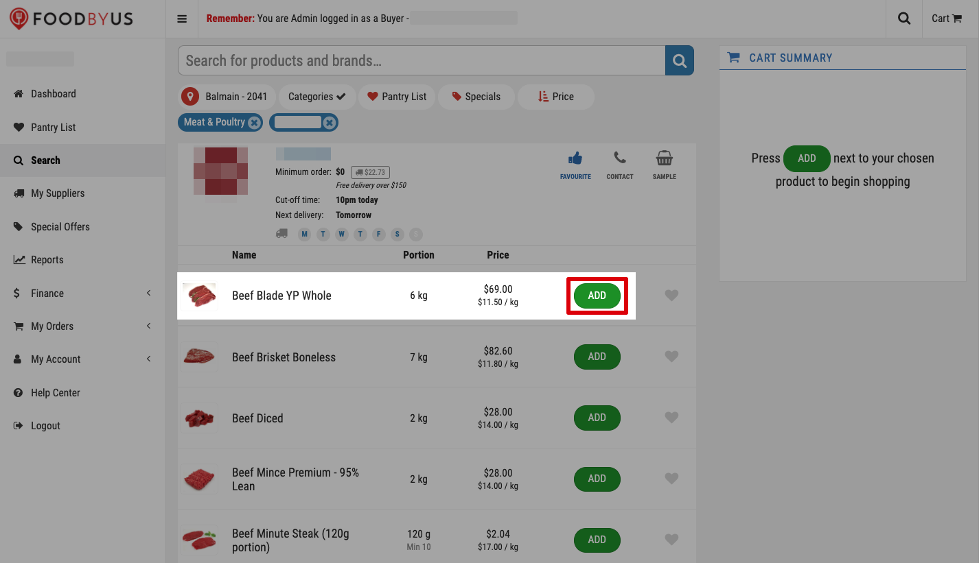 FoodByUs_dashboard_search_marketplace_meat_and_poultry_choose_supplier_add_items