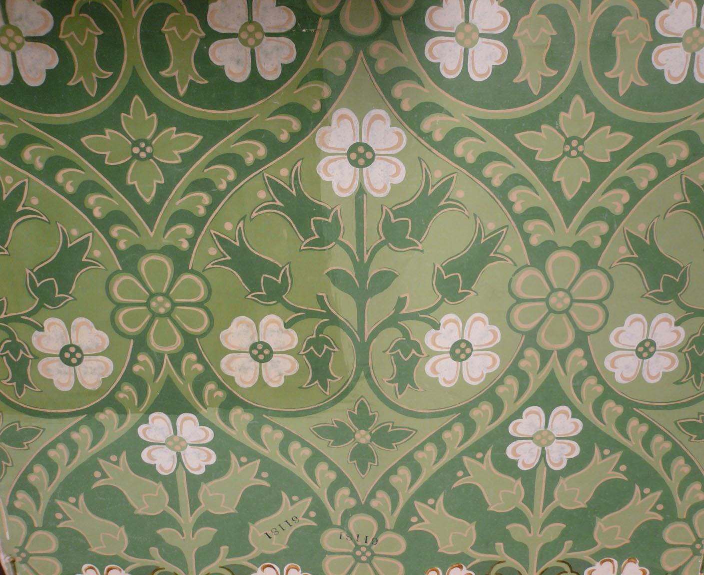 Wallpaper sample (floral) designed by A W N Pugin