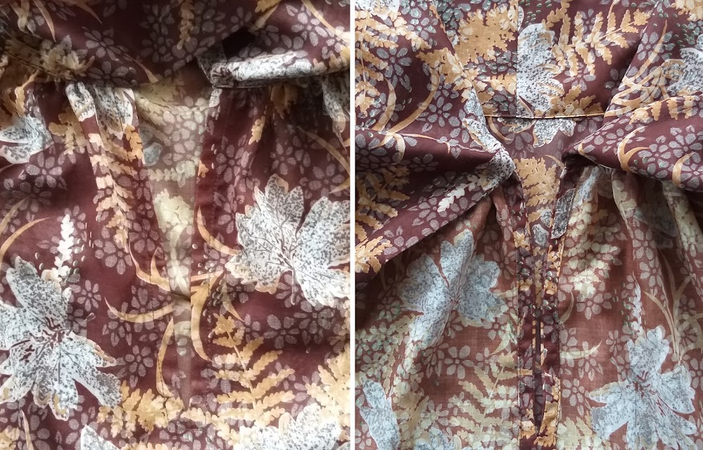 Two images of the finish of a slit facing on a handmade blouse.