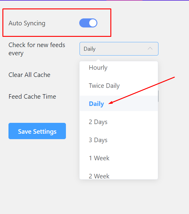settings of wp social ninja auto syncing