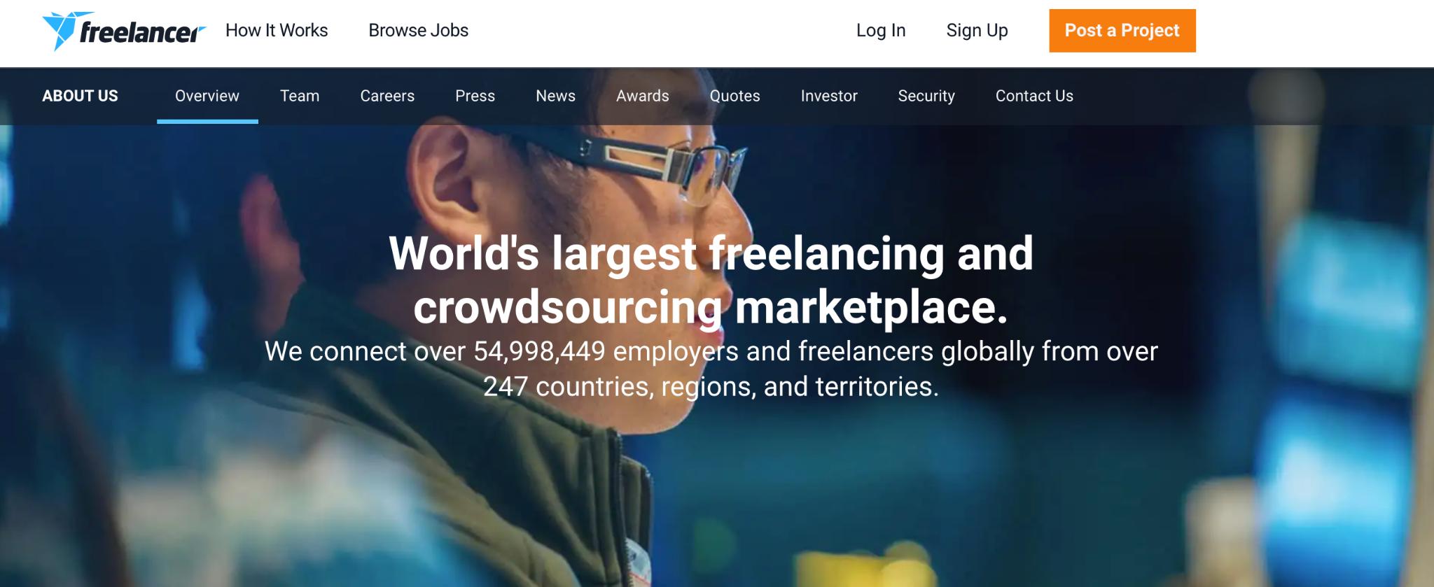 Screenshot from Freelancer's website