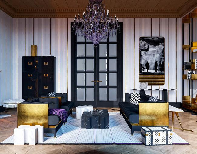 Tất cả các chi tiết trong căn phòng, từ cánh cửa tới bức tranh treo tường đều được trang trí bằng vàng 24k.