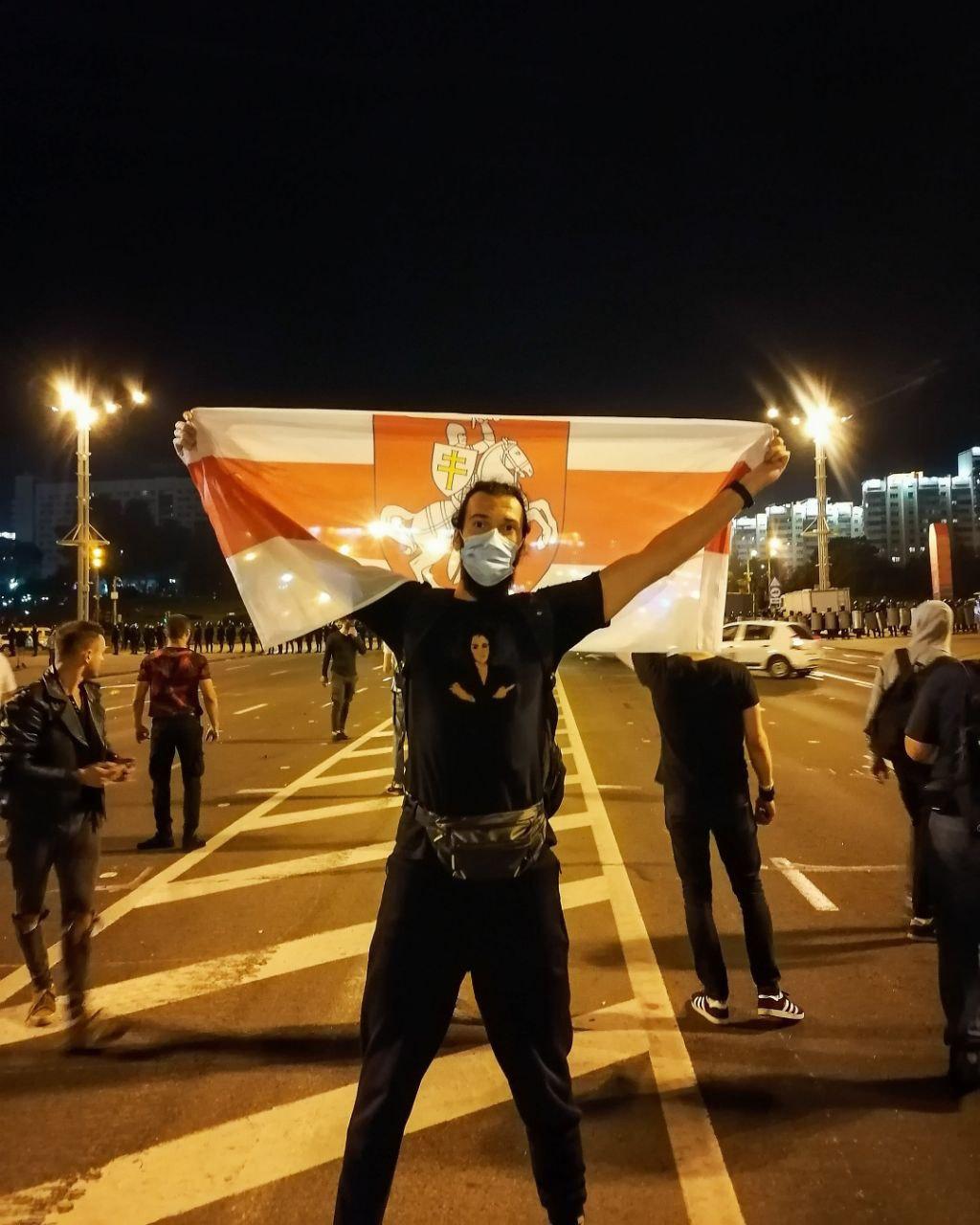 Андрій під час протесту, 9 серпня 2020 рік